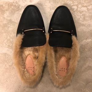 NWOT A New Day fur lined black mules